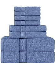 Utopia Towels 8-częściowy zestaw ręczników - 2 ręczniki kąpielowe, 2 ręczniki do rąk i 4 ściereczki bawełniane jakość hotelowa super miękkie i bardzo chłonne