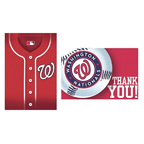 amscan MLB Party Washington Nationals Invitation & Thank You Card Set (16 Piece), Multi Color, 7.6 x 5 -