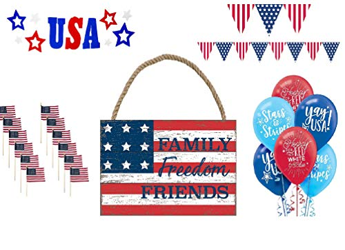 Patriotic Fourth of July Party Pack Red White and Blue Bundle of 5-Assorted Supplies Decorations, Family, Freedom, Friends Sign, Pennant Banner, Balloons, Stick Flags & USA Gel Cling Decal
