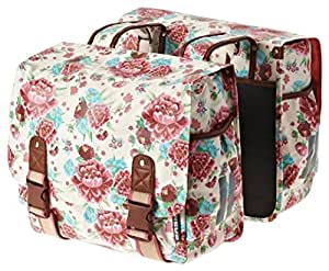 Bell Basil Bloom Double Bicycle Pannier, Gardenia/White