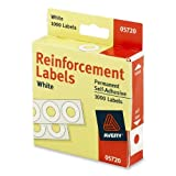 Wholesale CASE of 25 - Avery Reinforcement Labels -Reinforcements, 1/4'' Diameter, 1000/PK White