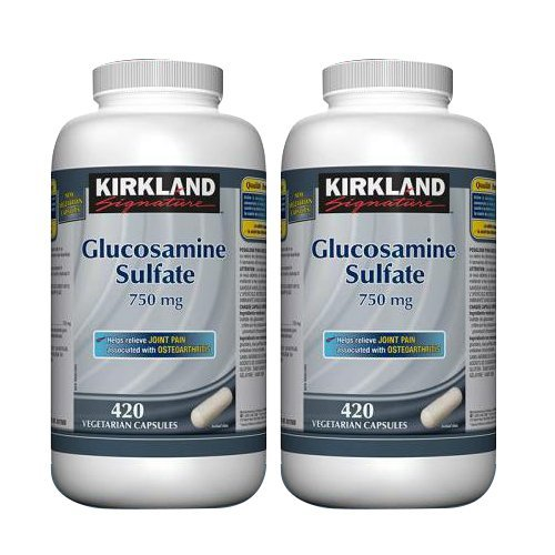 2 x Kirkland Signature Glucosamine Sulfate 750 mg, 420 vegetarian capsules (2) by Kirkland Signature