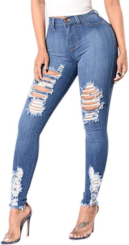 Stretchy Jeans Schlank Knie Denim Kurz geschnitten Löcher Neues Design