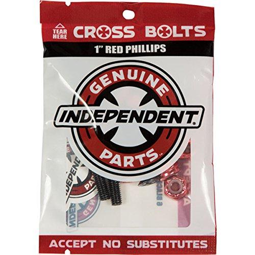 Independent Cross Phillips Head Black / Red Standard Skateboard Hardware Sets - 1