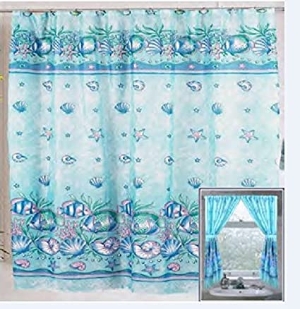 Home Fashions Under The Sea Shower And Window Curtain Set