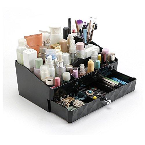 Dresser Organizer (Cosmetic Storage Makeup Organizer,Jewelry Tray Rack,Desk Organizer Supplies Caddy Tray with Drawers (black))