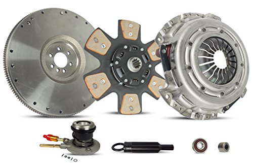 Clutch Kit With Slave And Flywheel Works With Chevrolet Blazer S10 C1500 K1500 GMC Jimmy Sonoma Savana P3500 Izusu Hombre 1996-2003 4.3L V6 GAS OHV Naturally Aspirated (6-Puck Clutch Disc Stage 2)