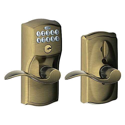 - Schlage FE595 CAM 609 Acc Camelot Keypad Entry with Flex-Lock and Accent Levers, Antique Brass