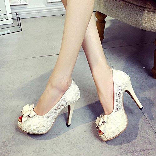 Rosa Primavera para Negro CN39 Peep Zapatos US8 Sandalias UE39 Verano Mujer Chunky Talón PU ZHZNVX UK6 Beige Negro Confort Toe Casual de SZqvX
