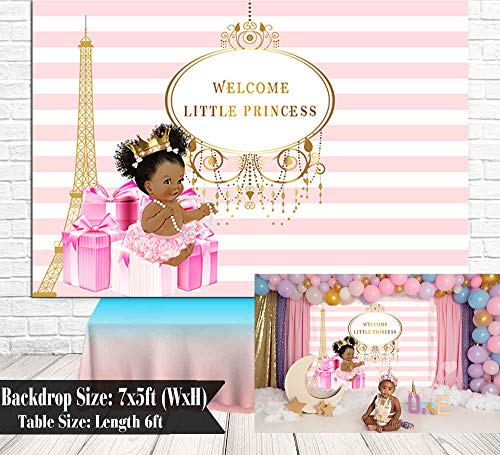 Royal Little Princess Pink Bow Gifts Baby Shower Backdrop Girl Shower Golden Crown Eiffel Tower Decoration Banner - Pink Girl Princess