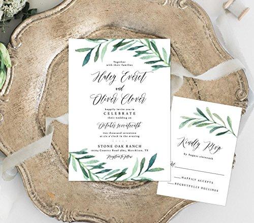 Greenery Wedding Invitation, Watercolor Wedding Invitation, Eucalyptus Leaves Wedding Invitation by Alexa Nelson Prints