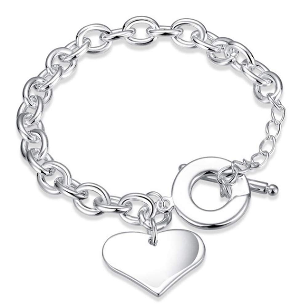 Fashion Silver Plated Heart Charm Toggle Bracelet Bangle Women Party Jewelry Perfect Gift for Birthdays
