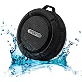 ChaseRabbitRoad Mini Portable Shower/Travel Speaker | Wireless, Splashproof, Bluetooth 3.0 | Clip & Suction Cup | Built In Mic for Hands Free Speakerphone | Black