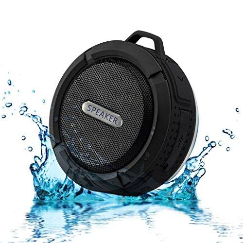 ChaseRabbitRoad Mini Portable Shower/Travel Speaker | Wireless, Splashproof, Bluetooth 3.0 | Clip & Suction Cup | Built in Mic for Hands Free Speakerphone | Black