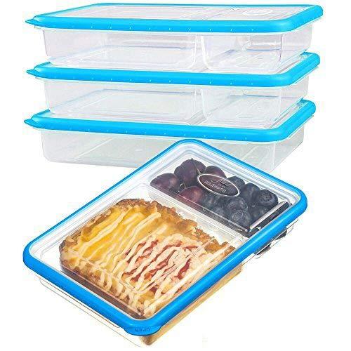 SELEWARE Plastico recipientes Comida hermeticos microondas contenedor Alimentos con 2-Compartimentos tapers apilables con Tapa sin bpa Fiambreras ...