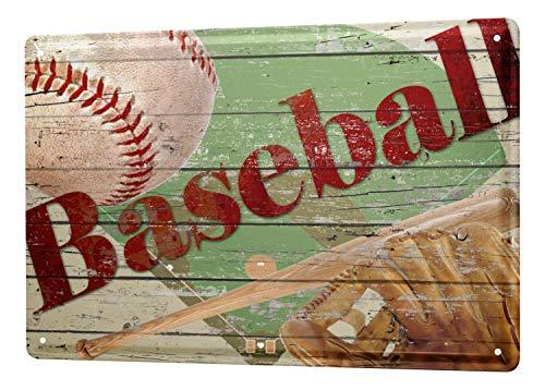 Tin Sign Retro Deco Baseball ball bat mitt 8X12
