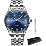 Men Business Wrist Watch Waterproof Analog Quartz Watch with Stainless Steel Band Casual Classic Roman Numeral Clock with Calendar Date Window OLEVS