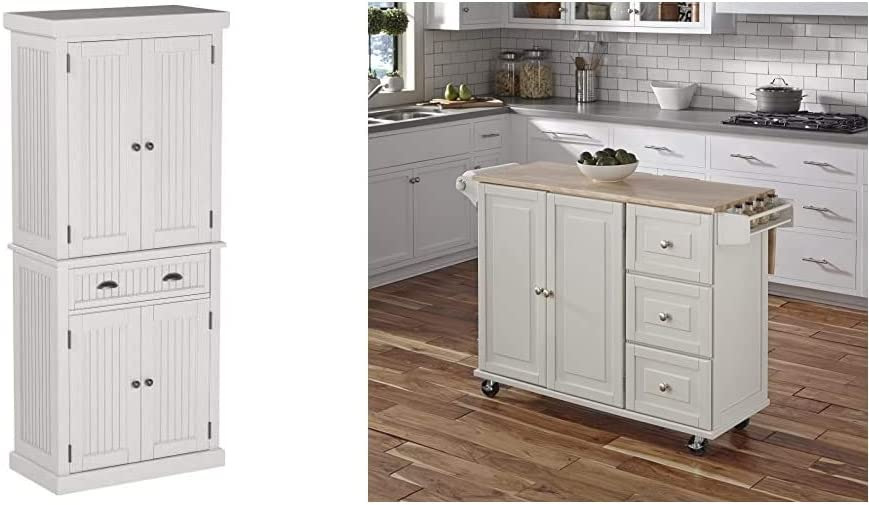 Home Styles Nantucket Pantry - White Distressed Finish & Liberty Kitchen Cart with Wood Top - White