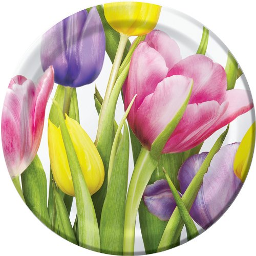 8-Count Round Paper Dinner Plates, Treasured Tulips