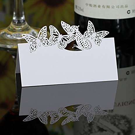 Amazoncom Joinwin 50 Pieces Laser Cut Place Name Paper Cards