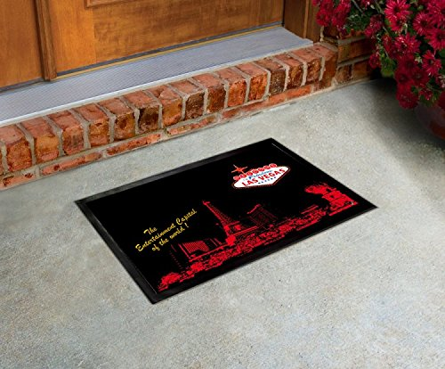 1art1 Las Vegas Door Mat Floor Mat - Strip and Logo (24 x 16 inches)