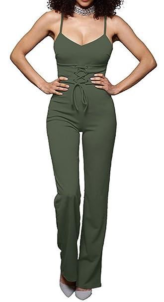 2180f517c0a8 YiYaYo Women Spaghetti Strap Bodycon Tank Waist Lace-up One Piece Jumpsuits  Rompers ArmyGreen S