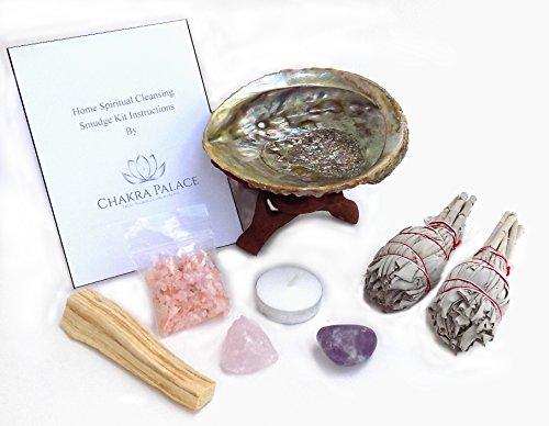 (Chakra Palace Large Smudge Kit Gift Set, Abalone, Wood Stand, Sage, Palo Santo, Amethyst - 10 Items)