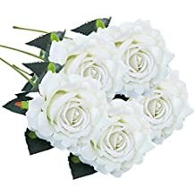 AIMTOPPY 5 Pcs Artificial Silk Fake Flowers Rose Flower Wedding Bouquet Party Home Decor (white)