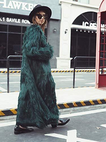 Colletto Tasche Tinta Giacca Cappotto Donna Unita Da Invernale Abbigliamento Zipper Fashion Con Elegante Manica Alto Oversize Trapuntato Saoye Gr��n Lunga Autunno ZxzqwBn4X
