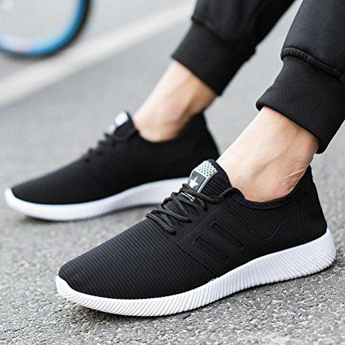 Deportes Deportivas Running Alpargatas Respirable Negro Zapatillas QinMM Hombre con Cordones Zapatos para Gym Transpirables UdFn7Bx0n