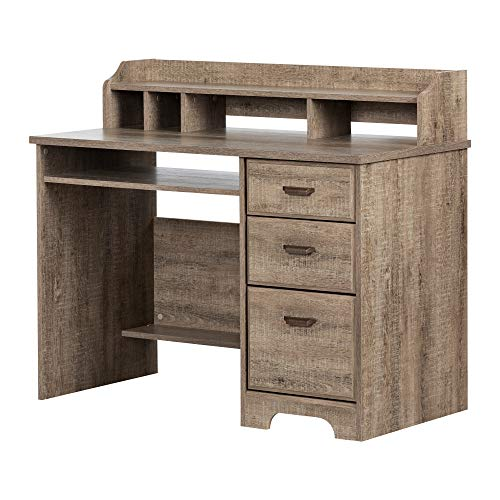 South Shore 12109 Versa, Weathered Oak Computer Desk with Hutch,