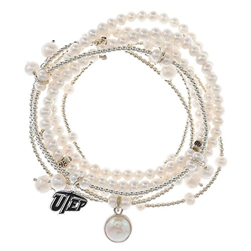 Texas El Paso Miners 7 Strand Freshwater Pearl and Silver Bracelet by College Jewelry