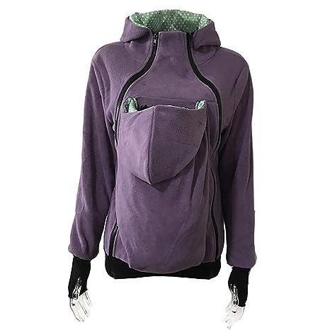 4822655332d6 BVC Madre Canguro Giacca Marsupio Vestiti Tascabili per Incinta Cappotto da  Donna Inverno Felpe Multifunzionali di