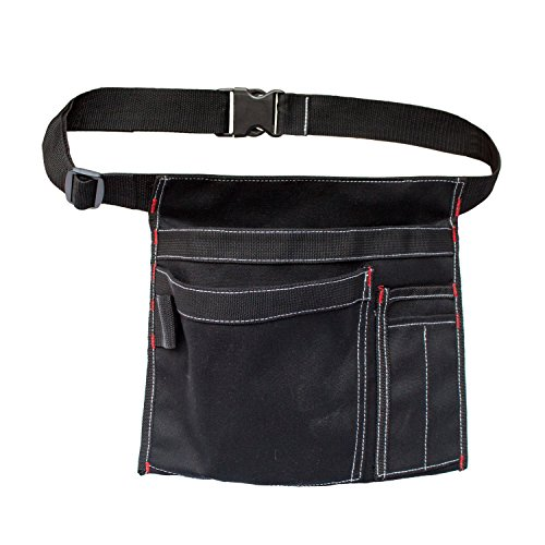 MDSTOP Single Side Apron Tool Pouch with 5 Pockets and 1 Hammer Loop, Fits for Hammer, Pencils, Screwdrivers etc. (Black)