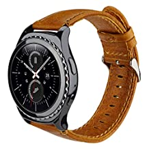 Gear S2 Classic Smart Watch Band, SSBRIGHT 20mm Premium Soft Genuine Leather Strap Replacement Band For Samsung Gear S2 Classic SM-R732 / R735 Version (Brown)