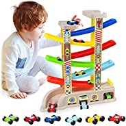 aotipol Montessori Toys for 1 2 3 Year Old Boys Toddlers, Car Ramp Toys with 6 Cars & Race Tracks, Garages