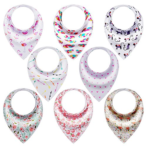 Baby Flamingo (8-Pack Baby Girl Bandana Bibs for Drooling, Teething, Absorbent Organic Cotton, by Giftty)