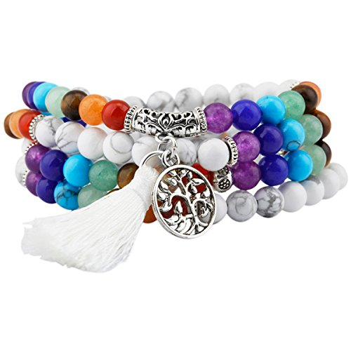 SUNYIK 7 Chakra Stone 108 White Howlite Turquoise Wrist Mala Bracelet,Tibetan Buddhist Prayer Bead with Tassel (Turquoise Bracelet Lapis)