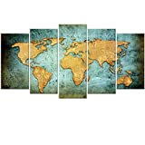 best world map wall murals Large Vintage World Map Poster Printed On Canvas,Blue Sea Yellow Map Printing Mural Art For Wall ,Framed World Map Canvas Prints for Living Room,Office,Hotel,Ready to Hang (Vintage Xlarge)