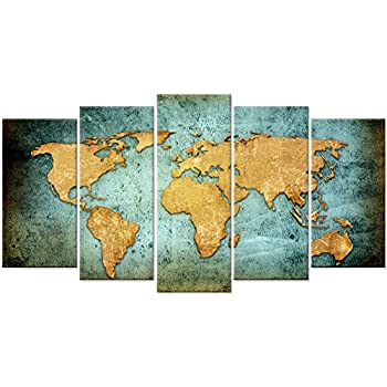 Large Vintage Map Of The World.Amazon Com Large Vintage World Map Poster Printed On Canvas Blue