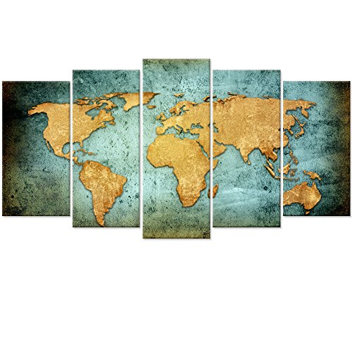 Large Vintage World Map Poster Printed On Canvas,Blue Sea Yellow Map Printing Mural Art For Wall ,Framed World Map Canvas Prints for Living Room,Office,Hotel,Ready to Hang (Vintage Xlarge)