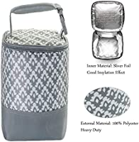 Gray,Fits up to 4 Large 8 Oz. Bottles Size Upgrade Breastmilk Storage Bag Multipurpose Baby Bottle Cooler Bag Insulated Baby Bottle Tote Bags