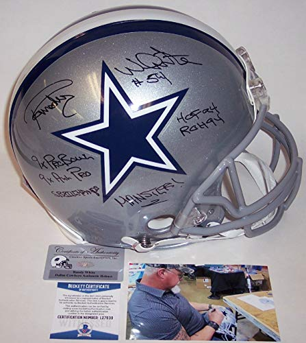 Randy White Autographed Hand Signed Dallas Cowboys Full Size Authentic Pro Football Helmet - with HOF 94, SB XII Champs, ROH 94, 9x Pro Bowl, 9x All Pro & Manster Inscription's - BAS Becke