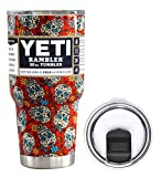 YETI Coolers 30 Ounce (30oz) (30 oz) Custom Rambler Tumbler Cup Mug Bundle with New Magslider Lid (Dipped Red Sugar Skull)