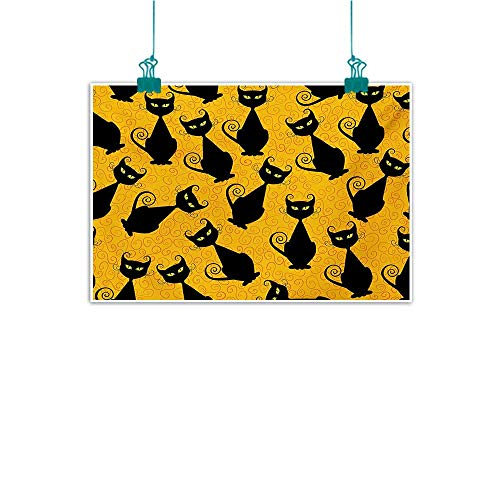 Modern Oil Paintings Vintage Black Cat Pattern for Halloween on Orange Background Celebration Graphic Patterns Modern Minimalist Atmosphere W31 xL24 Black Orange -