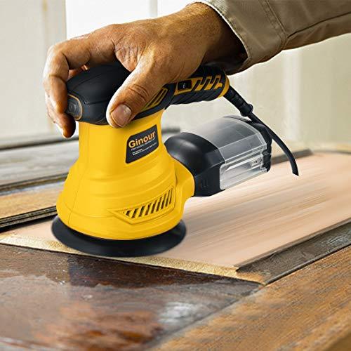Orbital Sander, Ginour 13000 RPM 125mm Random Orbital Sander, 6 Speeds, 15Pcs Sandpapers, Sponge Disc,Wool Disc, Efficient Dust Collection System, Ideal for Sanding, Polishing Wood