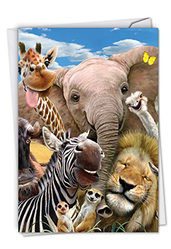 C6639FBDG Here's Looking at Zoo: Birthday Greeting Card, with -