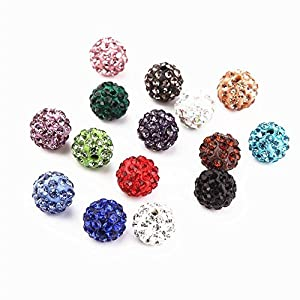 HYBEADS 100pcs/lot Gradient Colorful 10mm Crystal Shamballa Beads Pave Clay Dico Ball for Shamballa Bracelet Necklace