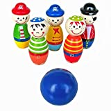 Doinshop Cute Children Toys Wooden Bowling Ball Skittle Funny Shape for Kids Game