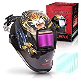 Velnax T7 Auto Darkening Welding Helmet: Solar Tiger Headgear for Grinding, Cutting, Tig Mig MMA Plasma, 6 Spare Lenses, Wide View, Outside Buttons